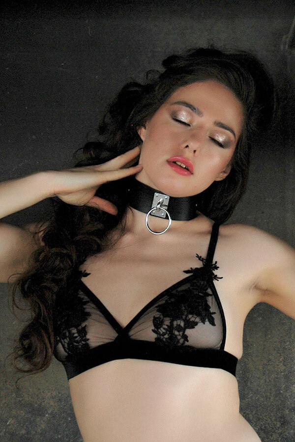 bdsm collar van zwart pu leer leatherlook eternity