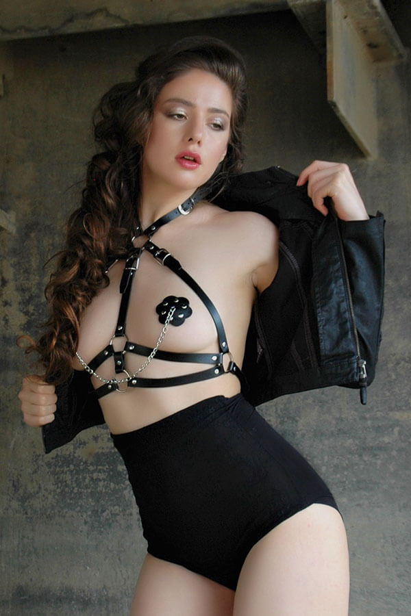 bdsm harnas pu leer in zwart leatherlook forceless