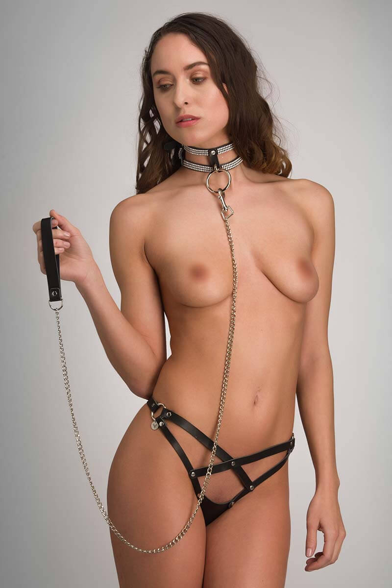 Bdsm leash van zwart echt leder leiband bondage ketting