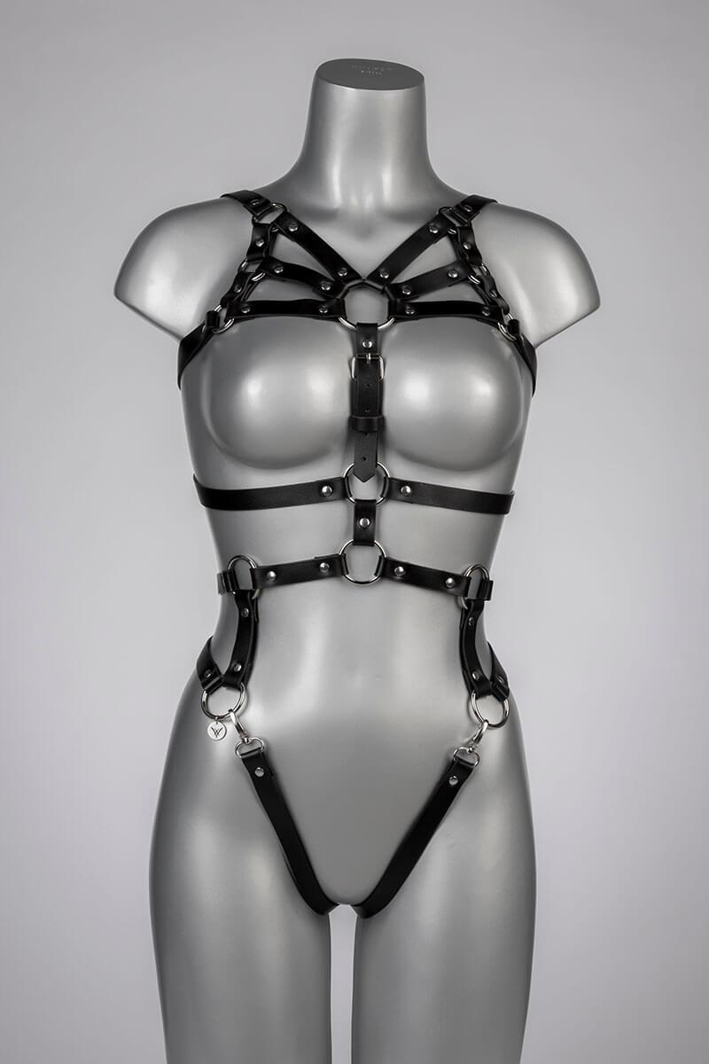 leren body harnas in zwart leatherlook