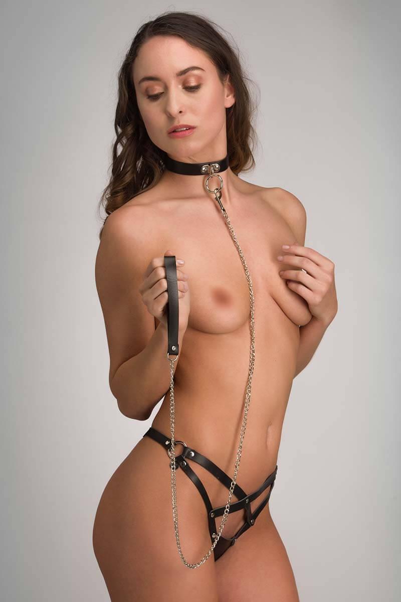 bondage collar van zwart pu leer subissive