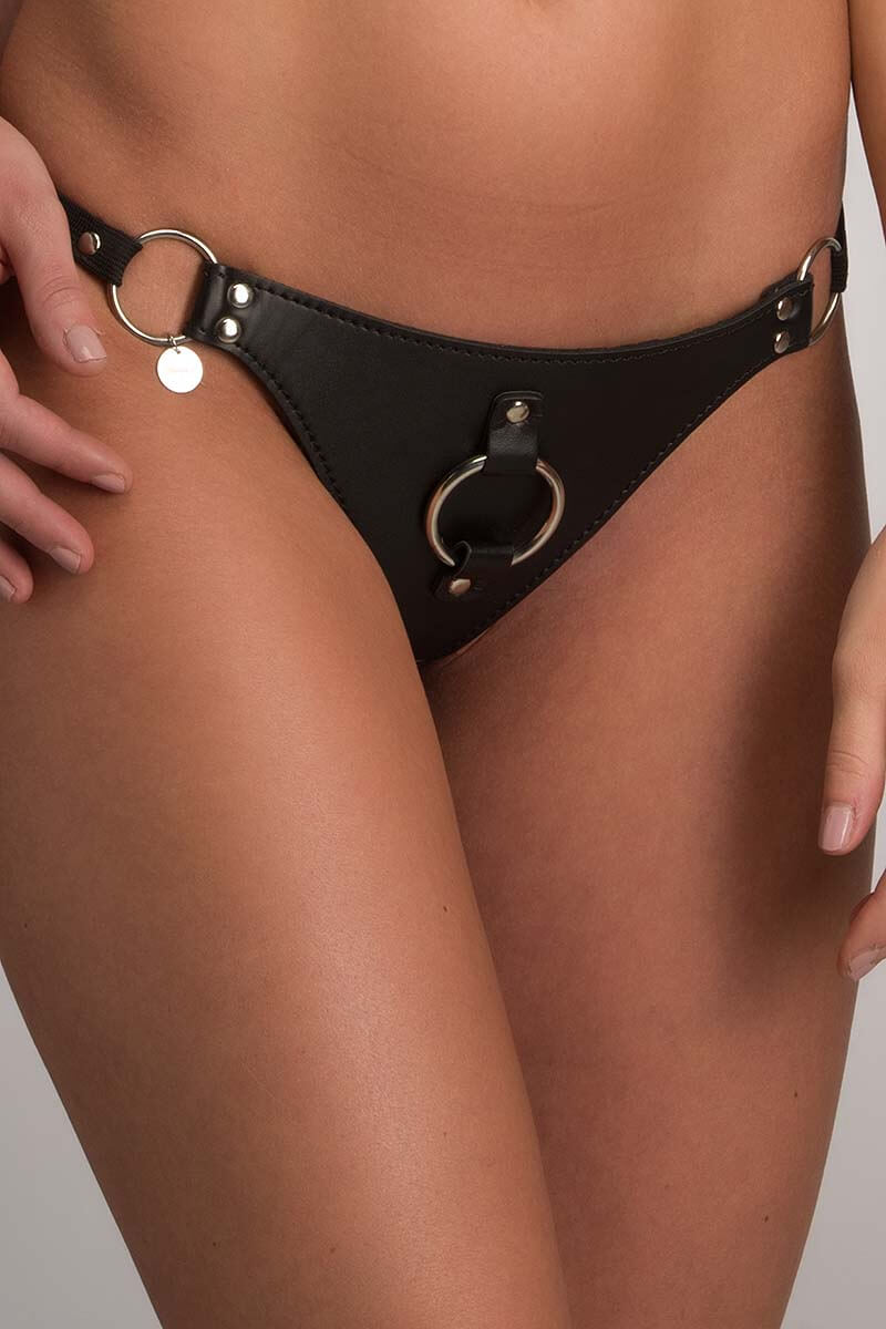 kinky string zwart van pu leer leatherlook insolence