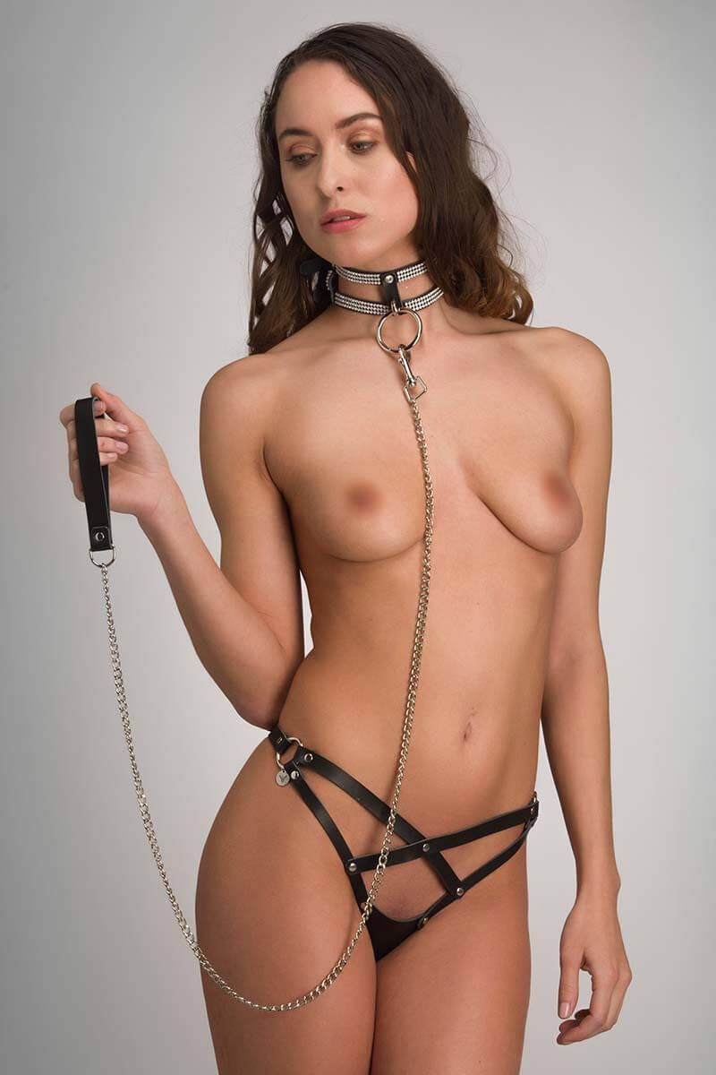 Leren bdsm collar met leiband