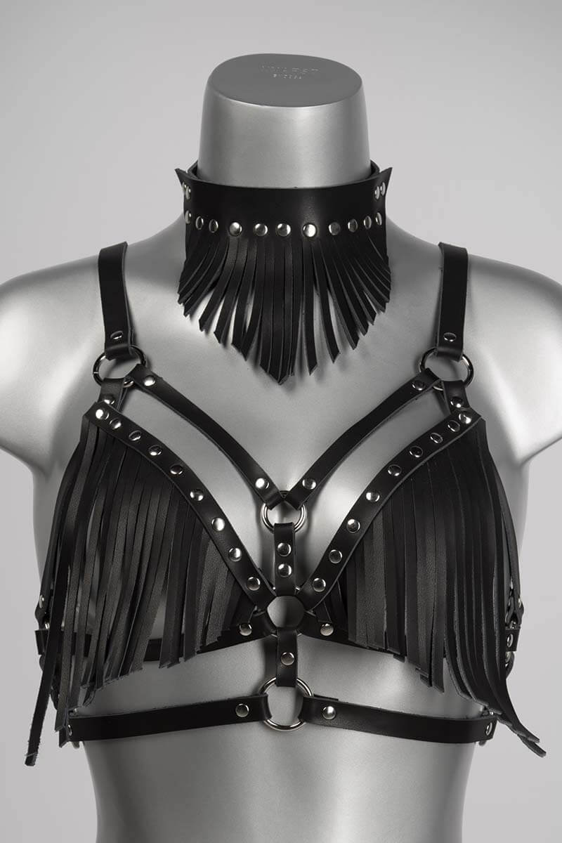 Leren halsband met franjes zwart