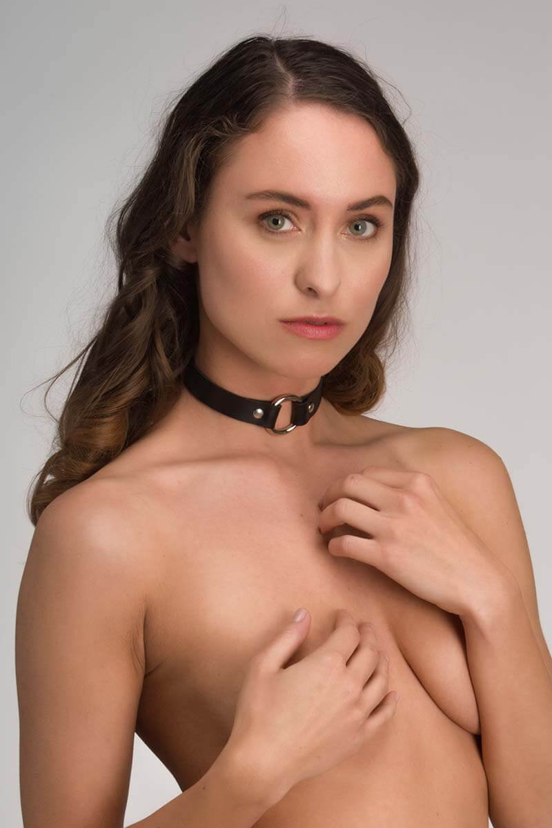 sexy choker in zwart pu leer leatherlook infinity