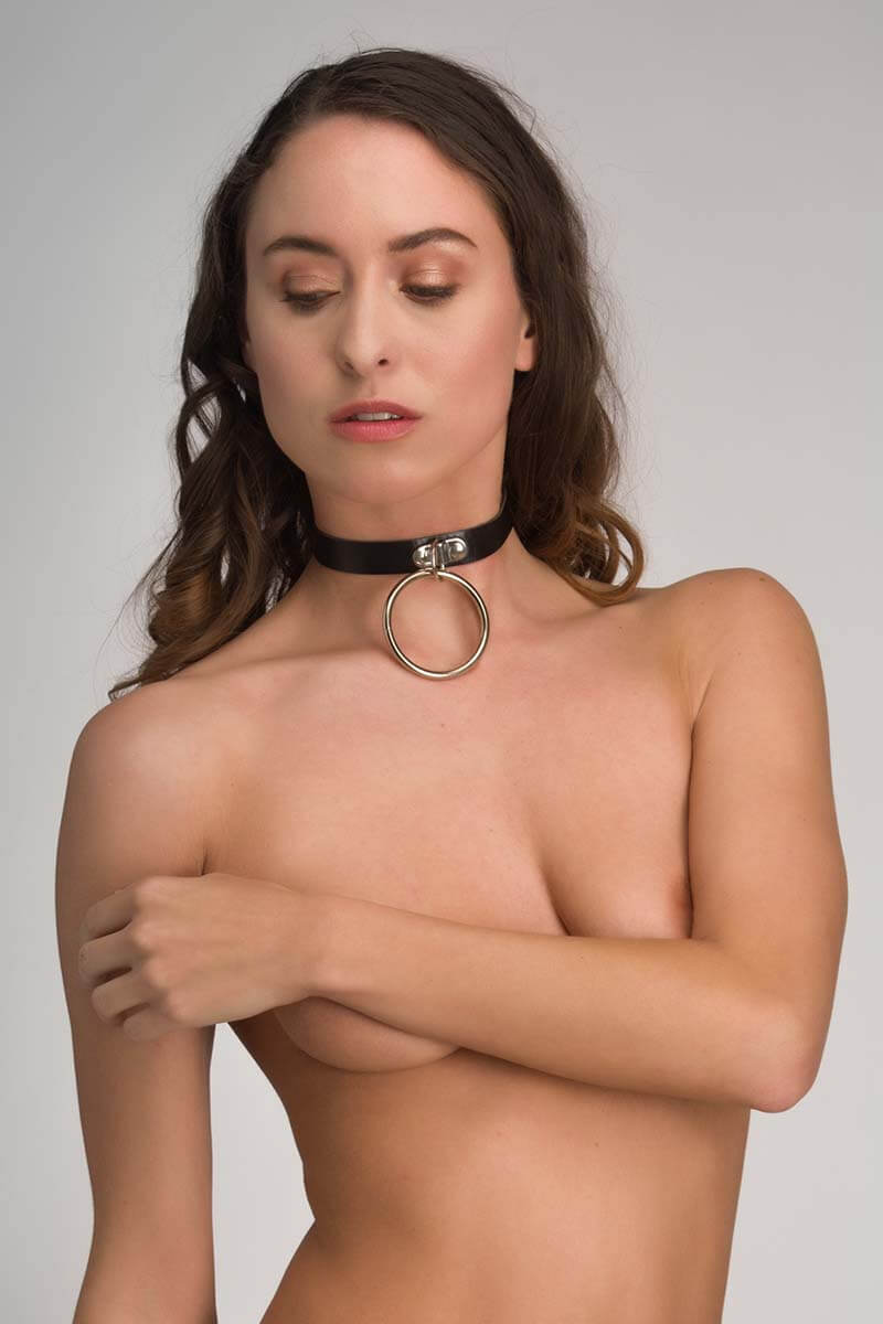 sm halsband van zwart pu leer leatherlook sub