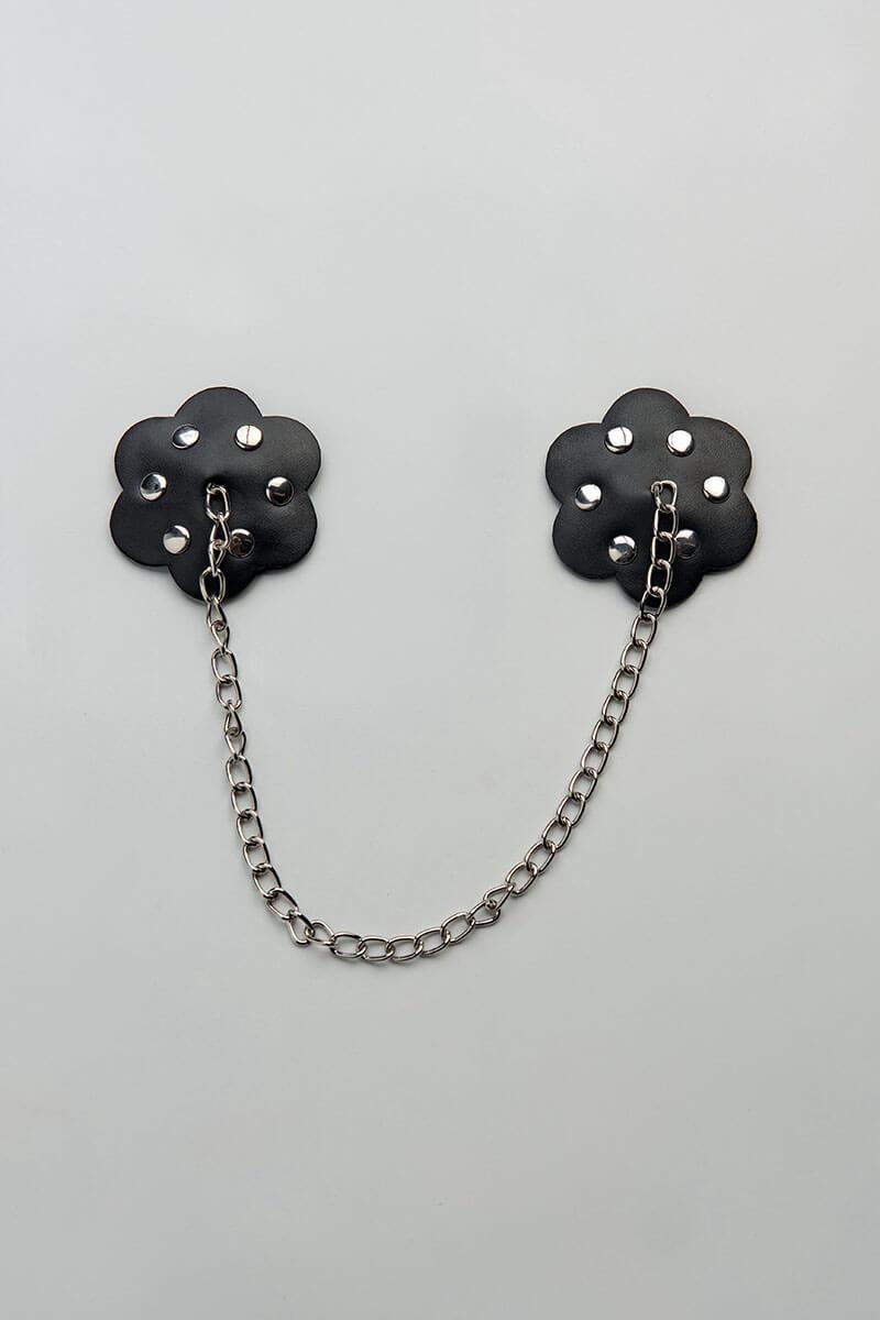 Tepelplakkers ketting van zwart pu leer