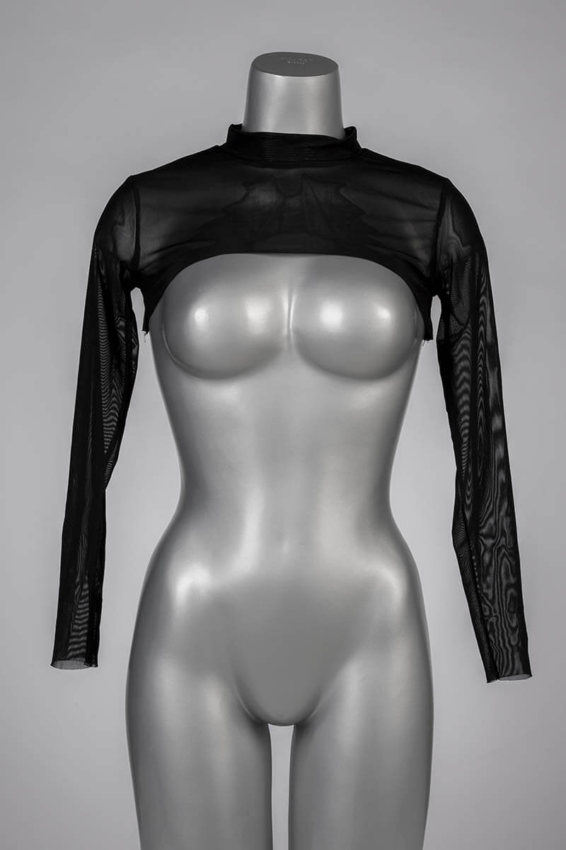 transparante bolero in zwart mesh materiaal