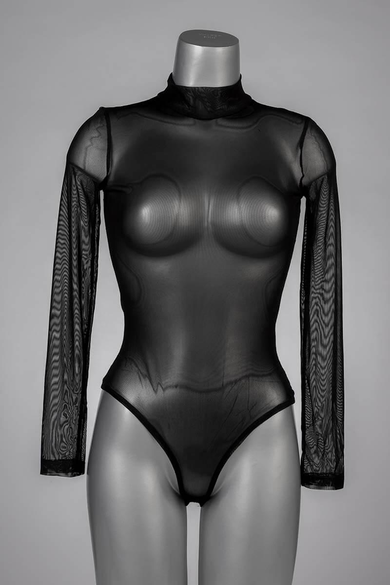 transparante mesh body in zwart