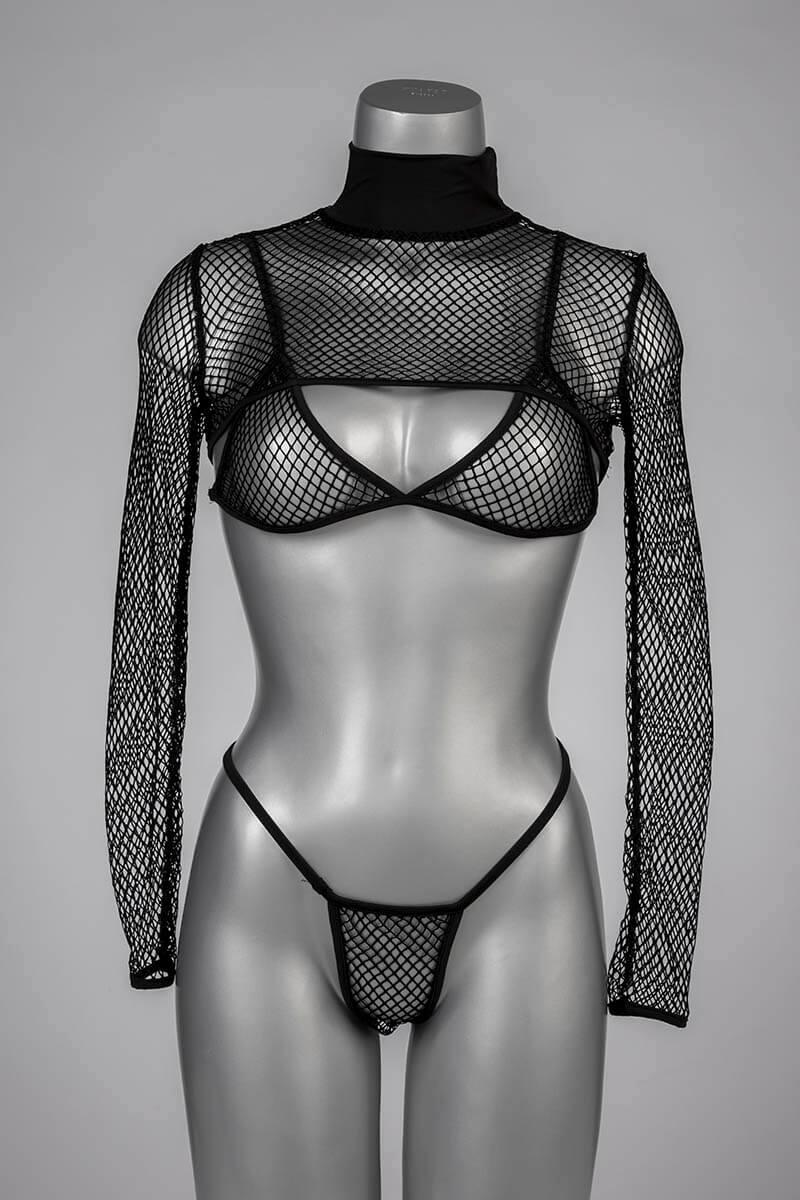 visnet lingerie setje zwart bh string bolero