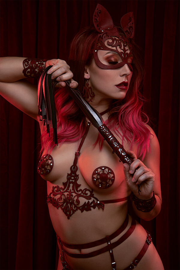 Kinky lingerie van rood leer in lasercut print