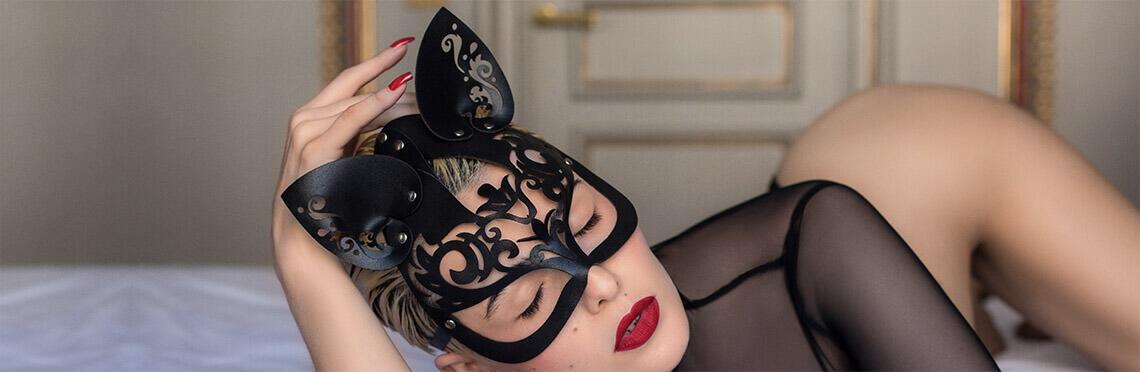 Sexy masker catwoman van zwart leer