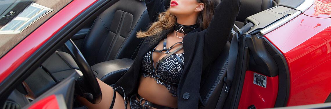 Luxe bondage lingerie van zwart leer bdsm setje