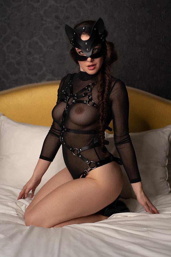 catwoman masker sexy vegan leather pu leer zwart kinky