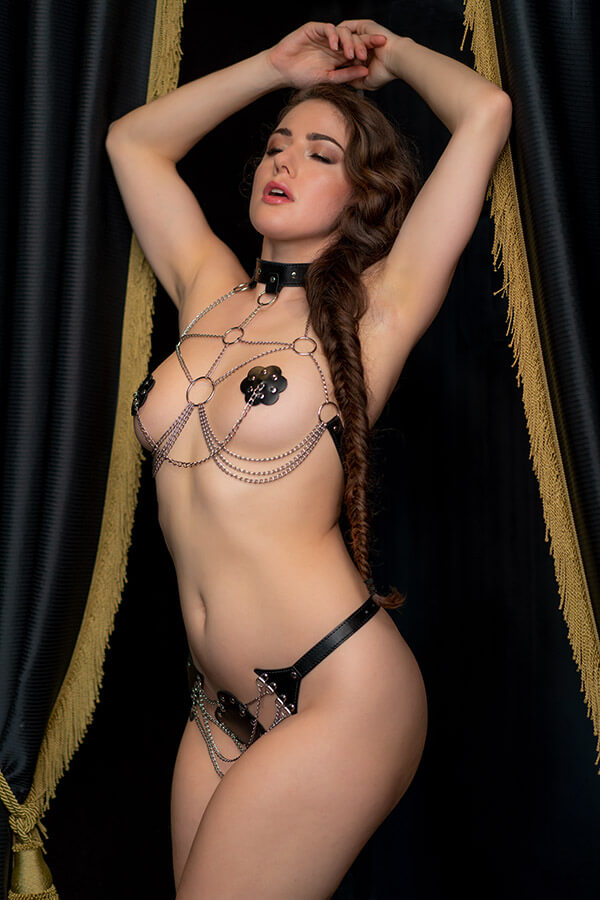 kinky lingerie vegan leather pu leer bondage fetish