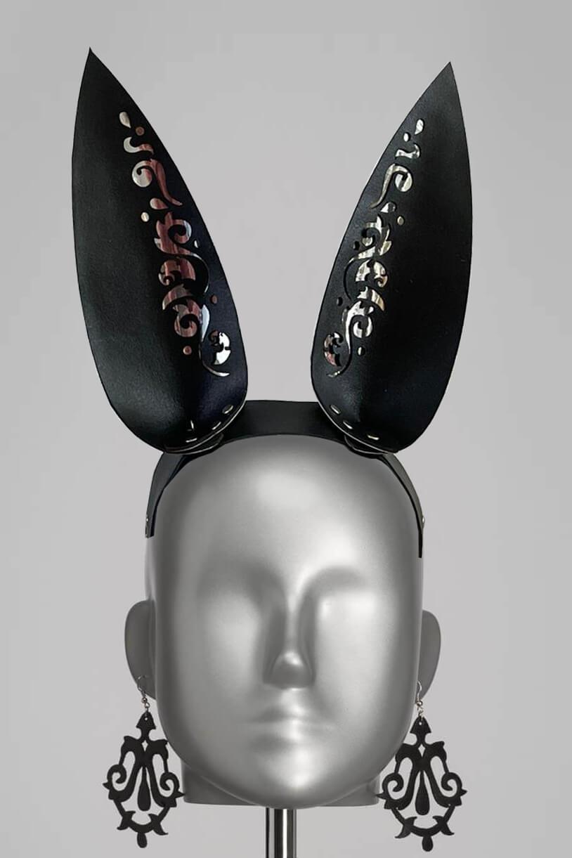 Leren bunny oren haarband lasercat zwart konijnen oortjes